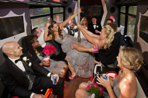 wedding party on limo bus michigan