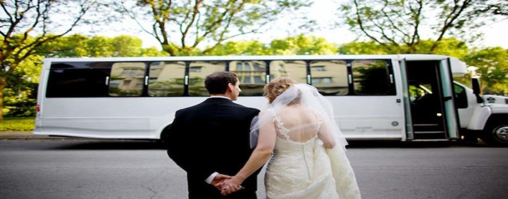 Michigan Wedding Transportation Just Married Getting In A Limo Bus